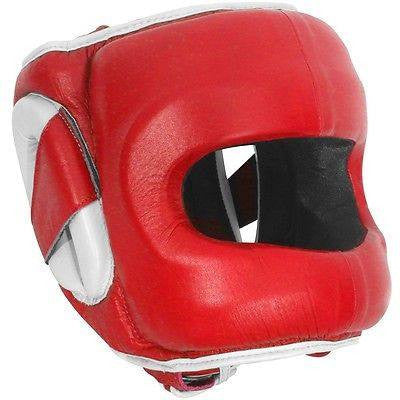 Ringside Deluxe Face Saver Boxing Headgear - Red / White - Sedroc Sports