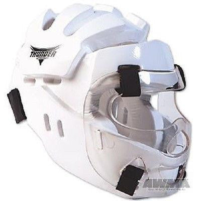 ProForce Karate Head Gear Taekwondo Sparring Head Guard w/ Face Shield - White - Sedroc Sports