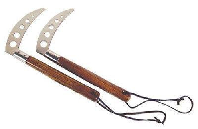 Competition Kamas (Pair) Natural Ash Wood Karate Kama with Chrome Blades - Sedroc Sports