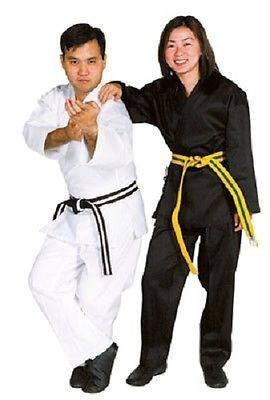 Medium Weight Student Karate Uniform Gi w/ White Belt Child Adult Size Black TKD