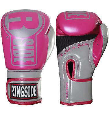 Ringside Apex Womans Boxing Gloves Kickboxing Fitness Bag Gloves - Pink/Grey - Sedroc Sports