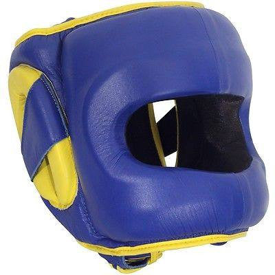 Ringside Deluxe Face Saver Boxing Headgear - Blue / Yellow - Sedroc Sports