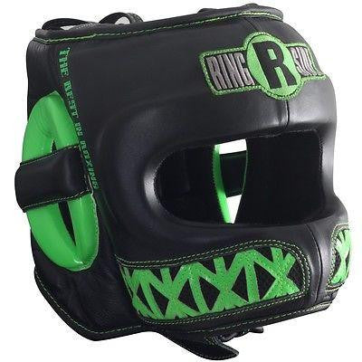 Ringside Boxing Youth Face Saver MMA Sparring Headgear - Black / Lime Green - Sedroc Sports