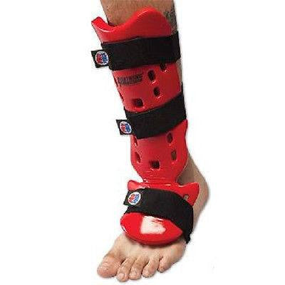 Proforce Karate Shin Guards Taekwondo Instep Guard - Red - Sedroc Sports