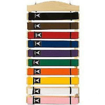 Karate 10 Belt Display Hanging Wood Rack Judo Jiu Jitsu Taekwondo Belt Holder - Sedroc Sports