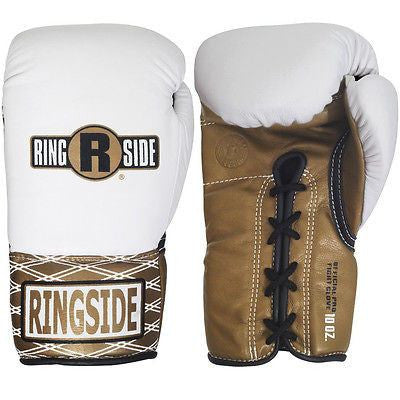 Ringside Boxing Ultimate Pro Fight Gloves - White / Brown - Sedroc Sports