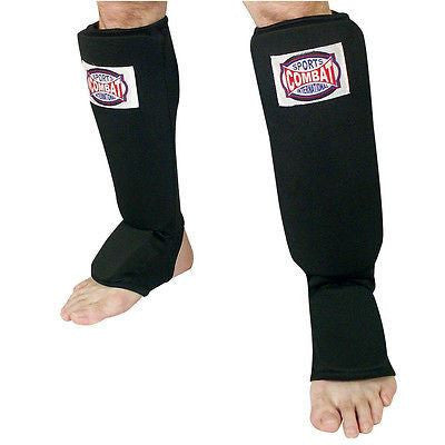 Combat Sports Shin Guards Slip On Insteps - Black - Sedroc Sports