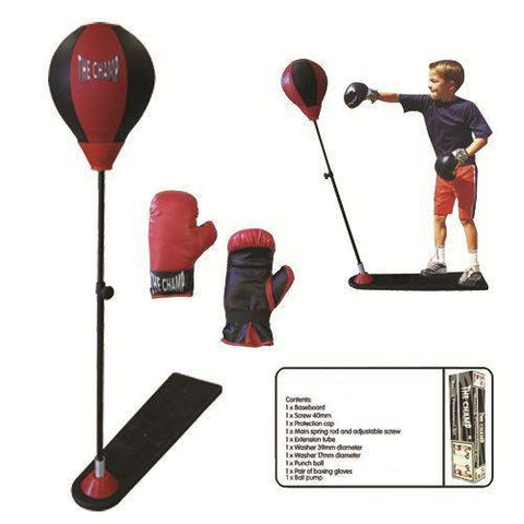 Deluxe Kids Boxing Punch Stand Toy Set with Punching Bag and Gloves - Sedroc Sports