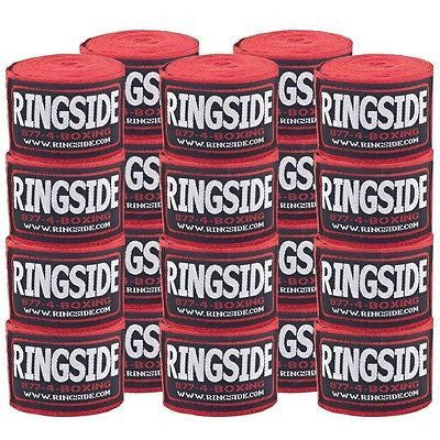 Ringside Boxing Handwraps 10 Pack MMA Kickboxing Muay Thai Hook & Loop Red - Sedroc Sports