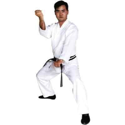 Martial Arts Uniform Karate Gi Adult Child Size Drawstring Pants White Belt 6 oz