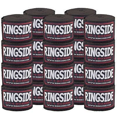 Ringside Boxing Handwraps 10 Pack MMA Kickboxing Muay Thai Hook & Loop Black - Sedroc Sports