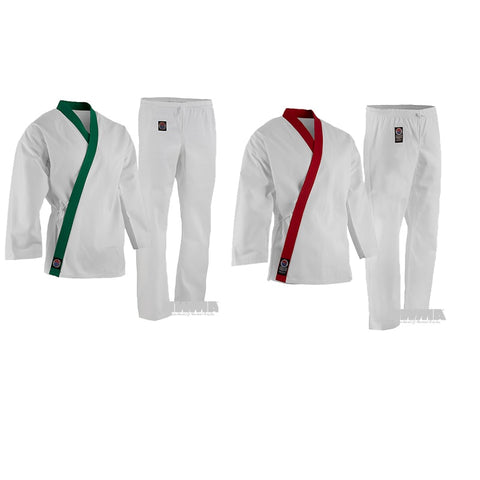 ProForce GUP Trimmed Tang Soo Do Uniform TSD Gi Youth Adult Green Red - Sedroc Sports