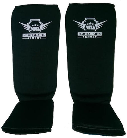 Martial Arts Armory Elastic Cloth Shin Guards - Black - Sedroc Sports