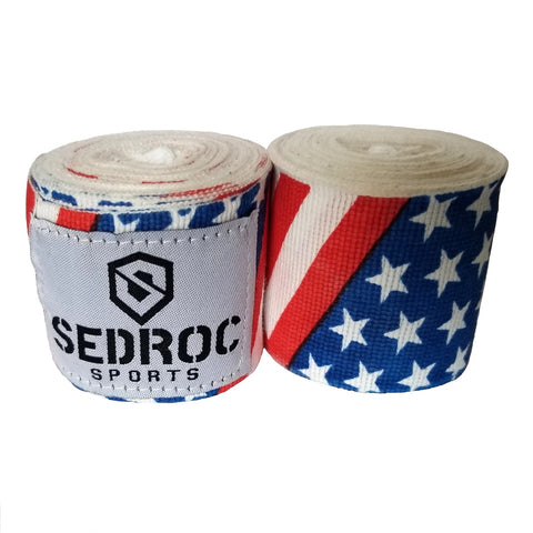 "Sedroc Boxing Mexican Style Hand Wraps - 180"" - USA Flag - Sedroc Sports"