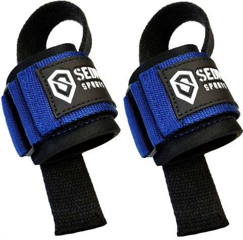 Sedroc Weight Lifting Bar Straps With Wrist Support Wraps (Pair) - Blue - Sedroc Sports