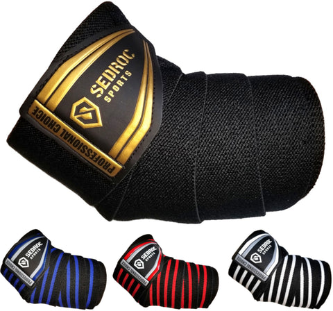 Sedroc Sports Professional Weight Lifting Elbow Wraps Powerlifting Support Sleeves - Pair