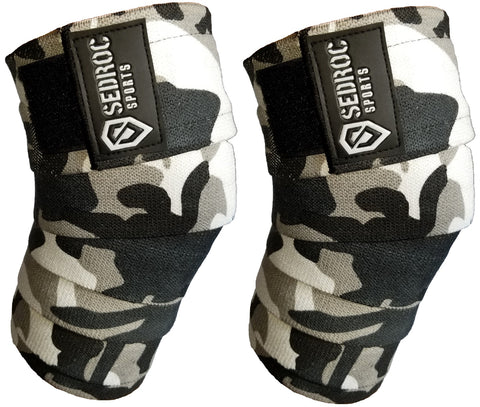 Sedroc Sports Weight Lifting Knee Wraps - Gray Camo