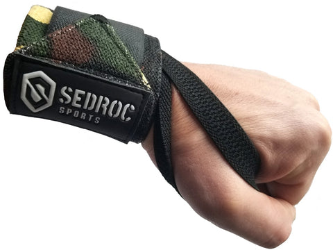 Sedroc Sports Weight Lifting Wrist Wraps with Thumb Loops - Green Camo