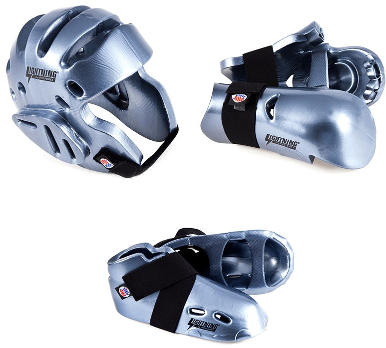 Lightning Silver Karate Taekwondo Sparring Gear Set Package Deal Child and  Adult