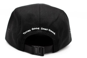 5-Panel Solid Black Cinch-Back