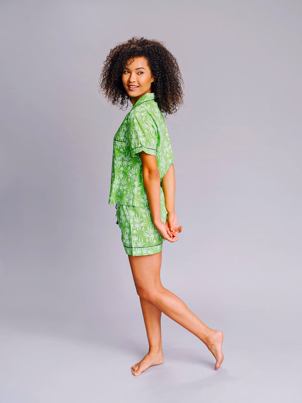 Pot Toile Shortie Pajamas in Greenery