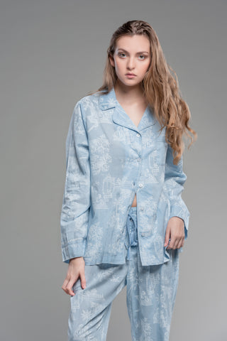 Pot Toile Printed Pajamas in Tiffany Blue