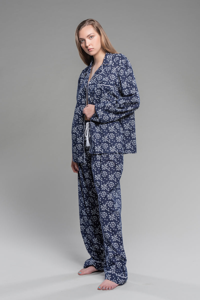 Pills Wallpaper Printed Pajamas in Navy