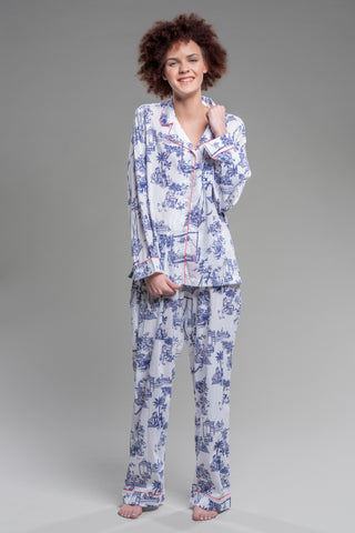 Men's Pot Toile Pajama Pants in Smoke