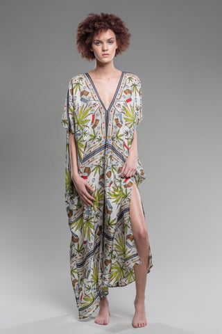 Absinthe Fairy Button-Front Kaftan in Chartreuse