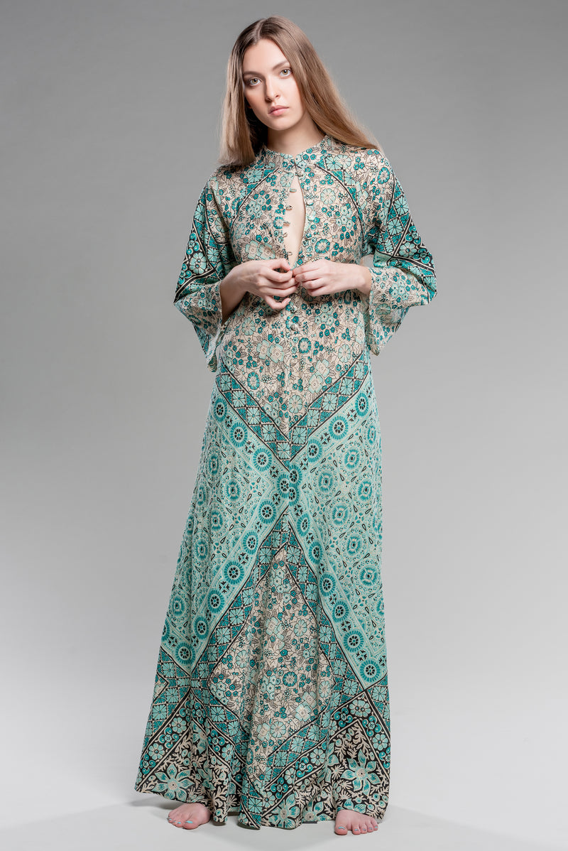 Turquoise Mosaic Floral Kaftan with gold lurex