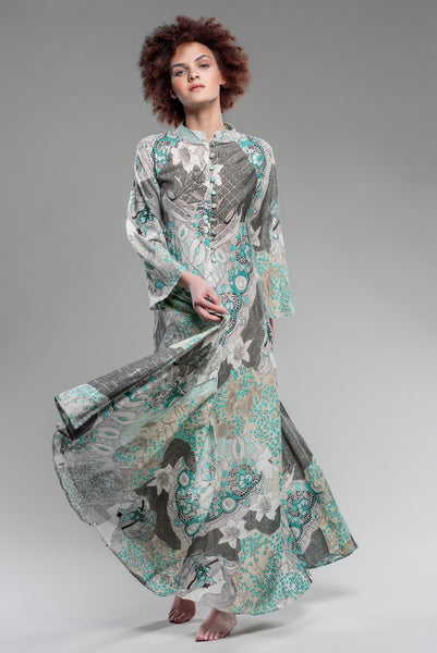 Absinthe Fairy Button-Front Kaftan in Smoke
