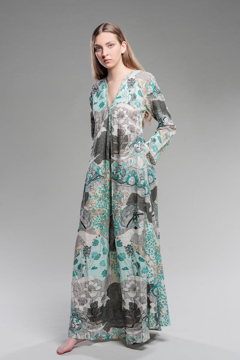 Absinthe Fairy Braided-Edge Kaftan in Smoke