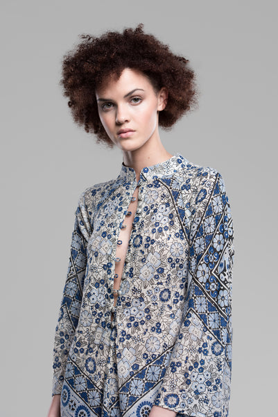 Mosaic Floral Button-Front Kaftan in Deep Ocean