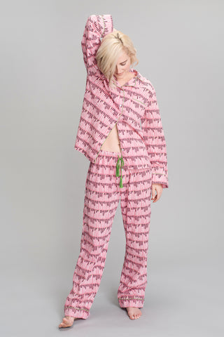 Smoking Lips Printed Pajamas in Pink
