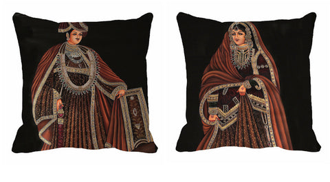 2PC Royal Cushion Digitally Printed Black King Queen, Color: Black