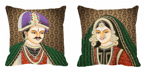 2pc Cushion Digitally Printed Green King Queen, Color: Green