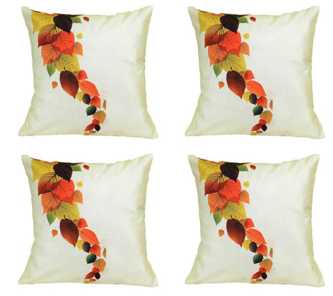 meSleep Cushion s Painted Leaves In Different Shades Of Life (Set Of 4), Color: White