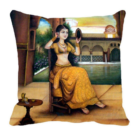 Cushion Digitally Printed Mirror Queen, Color: Yellow