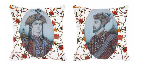 2pc White King Queen Cushion Digitally Printed, Color: Gray