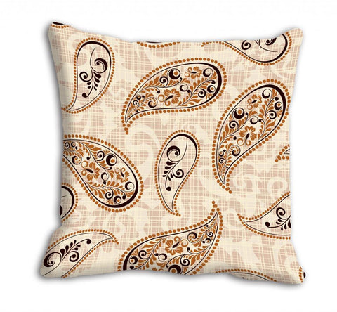 meSleep Beige Paisely Cushion, Color: Beige