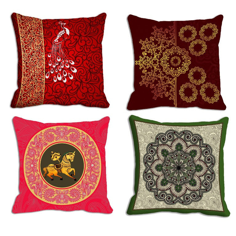 meSleep Motifs Combo 4pc Cushion, Color: Red