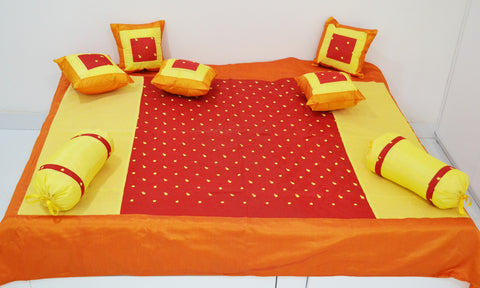 meSleep 8-Piece Embroidered Dupioni Silk Diwan Set (1 Single Bedcover, 2 Bolster Covers, 5 Cushion Covers)-Red