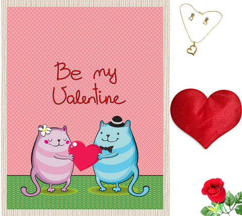 meSleep Be My Valentine Couple Canvas (14x18) With Free Artificial Rose & Pendant Set, Color: Pink