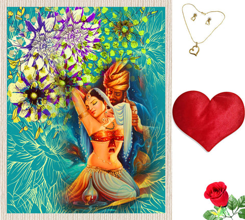 meSleep Blue Valentine Canvas (14x18) With Free Artificial Rose & Pendant Set, Color: Blue