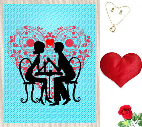 meSleep Blue Valentine Couple Canvas (14x18) With Free Artificial Rose & Pendant Set, Color: Blue