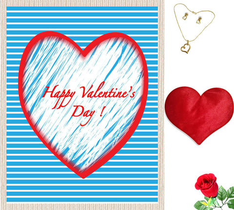 meSleep Blue Happy Valentine Canvas (14x18) With Free Artificial Rose & Pendant Set, Color: Blue