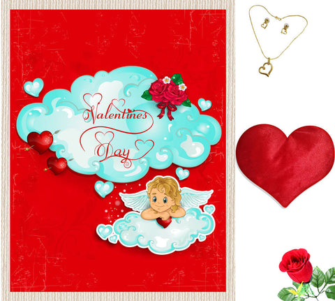 meSleep Blue Happy Valentine Canvas (14x18) With Free Artificial Rose & Pendant Set, Color: Red