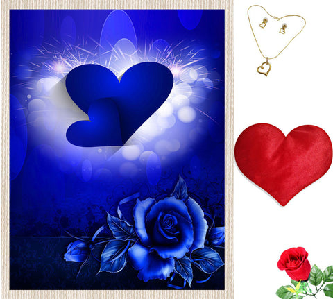 meSleep Blue Heart Valentine Canvas (14x18) With Free Artificial Rose & Pendant Set, Color: Blue