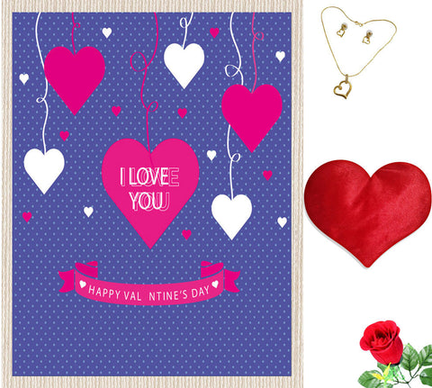 meSleep Blue Love U Valentine Canvas (14x18) With Free Artificial Rose & Pendant Set, Color: Purple