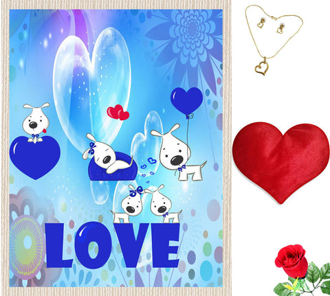 meSleep Blue Love Valentine Canvas (14x18) With Free Artificial Rose & Pendant Set, Color: Blue